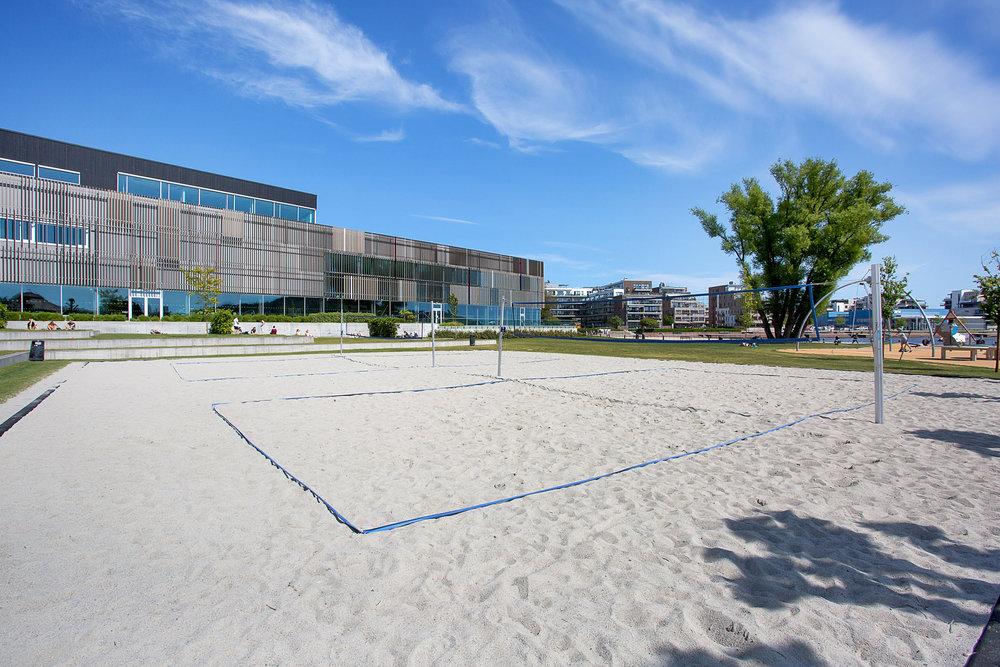 Strandvolleyballbane ved Bystranda.