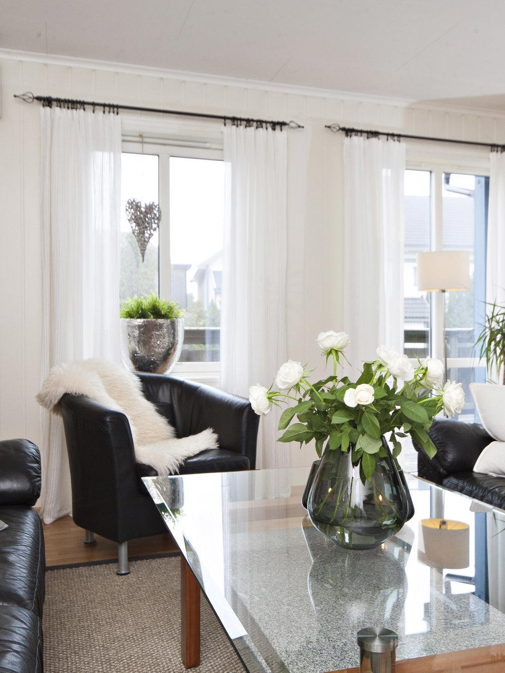 Store vindusflater i stue gir godt med naturlig lysinnslipp.