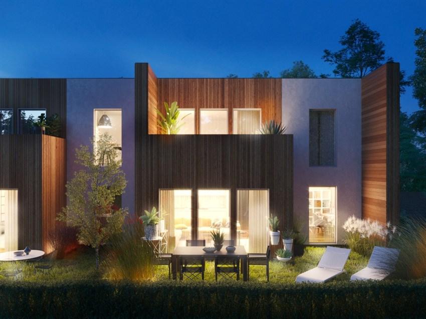 Alle leiligheter får en avgrenset hage eller veranda.