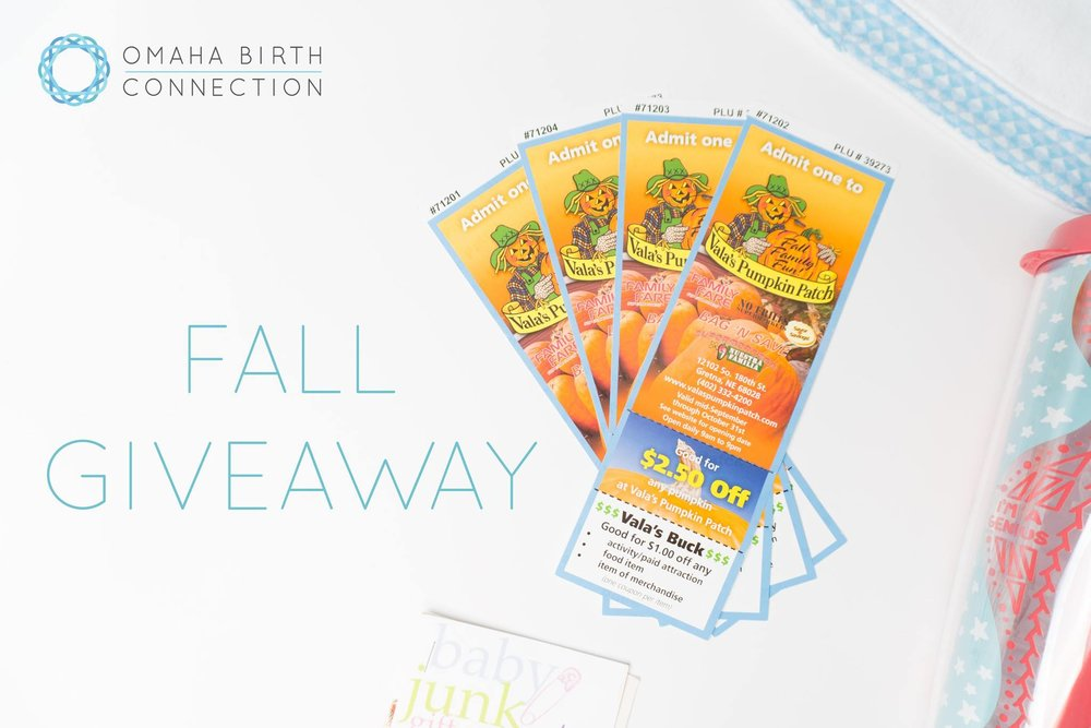 Omaha Birth Connection is giving away four Vala's Pumpkin Patch tickets!