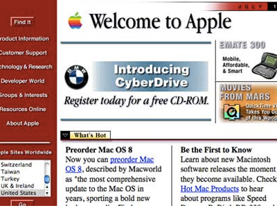 Apple's homepage, circa 1997
