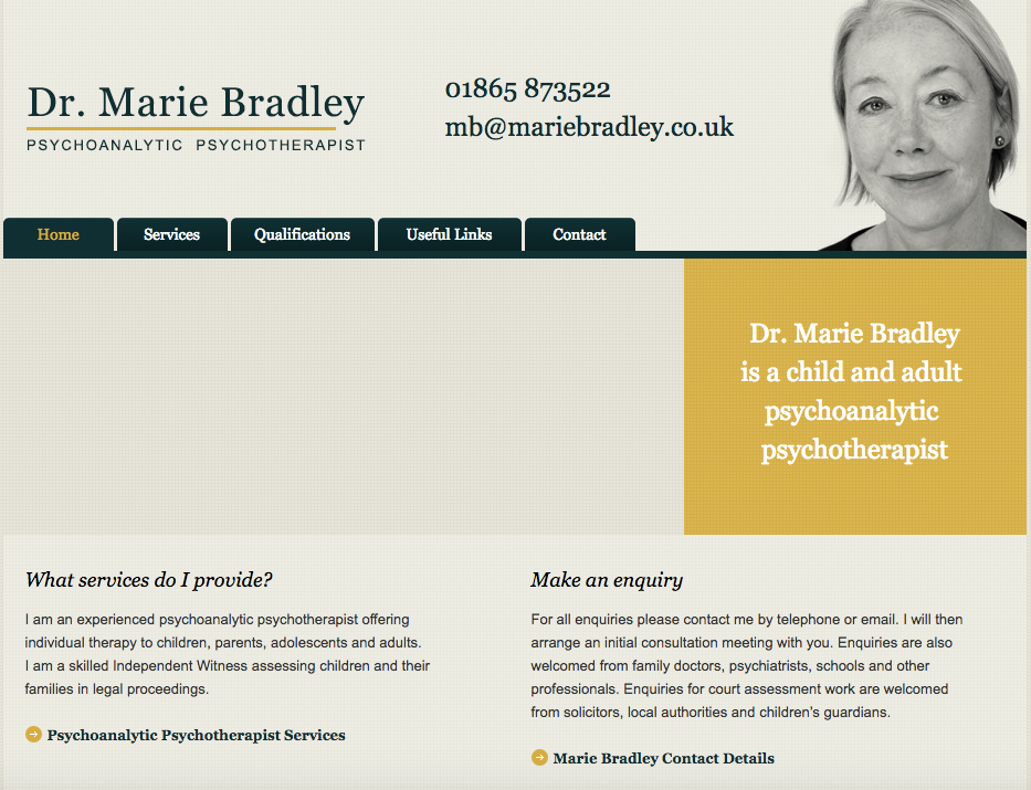 Marie's original website featured images (not shown) of some of the people she helps; i.e. troubled teenagers and children.