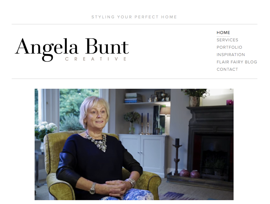 The original homepage featured a video in which Angela spoke about her passion for interior design.