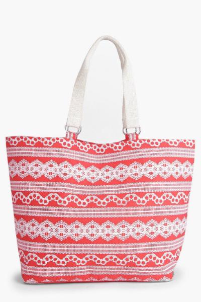 BOOHOO KARA PRINTED BEACH BAG, £16