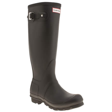 HUNTER WOMENS BLACK WELLIES FROM SCHUH,  £90