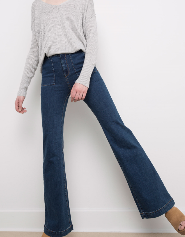 PULL & BEAR STRETCH BELL-BOTTOM JEANS PATCH POCKET , £29.99