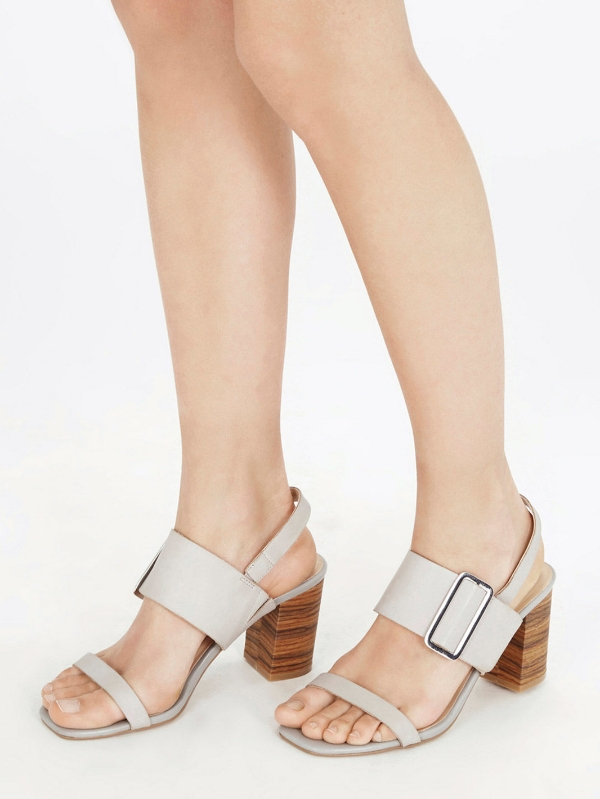 WAREHOUSE TRIPLE STRAP STACKED SANDALS , £55
