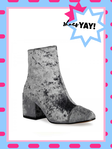 ALEXIA ZIP ANKLE BOOT IN GREY VELVET, £34.99