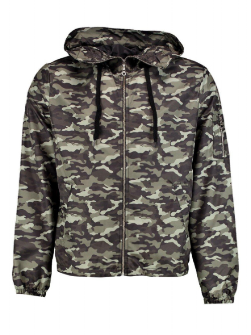 CAMO HOODED BOMBER , £25