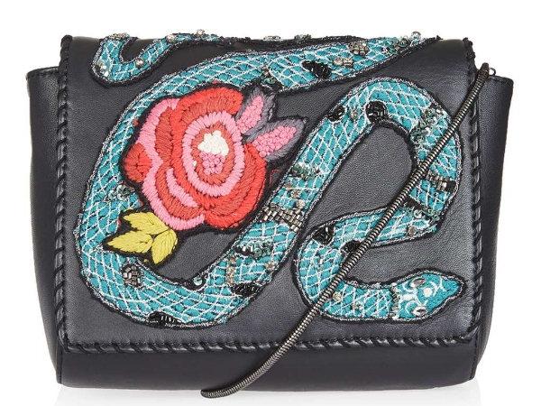 LEATHER SNAKE CROSSBODY BAG, £42