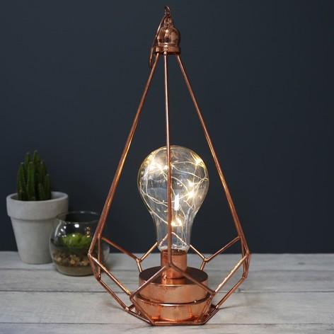 HANGING GEOMETRIC COPPER LED LANTERN LIGHT, £24
