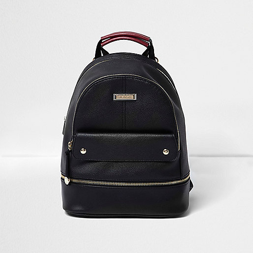 BLACK LEATHER LOOK TOP POCKET BACKPACK, £32
