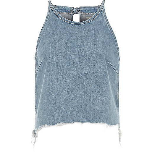 BLUE DENIM RAW EDGE CAMI CROP TOP, £30
