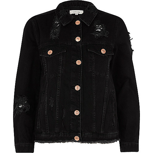 BLACK DISTRESSED OVERSIZED DENIM JACKET, £45