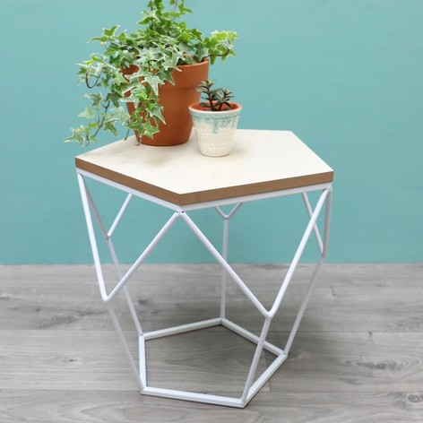 GEOMETRIC WOODEN SIDE TABLE, £39