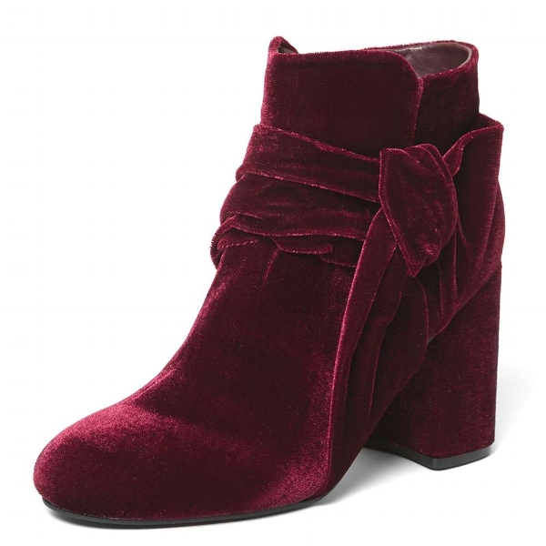 BURGUNDY ASTER HEELED BOOTS , £35