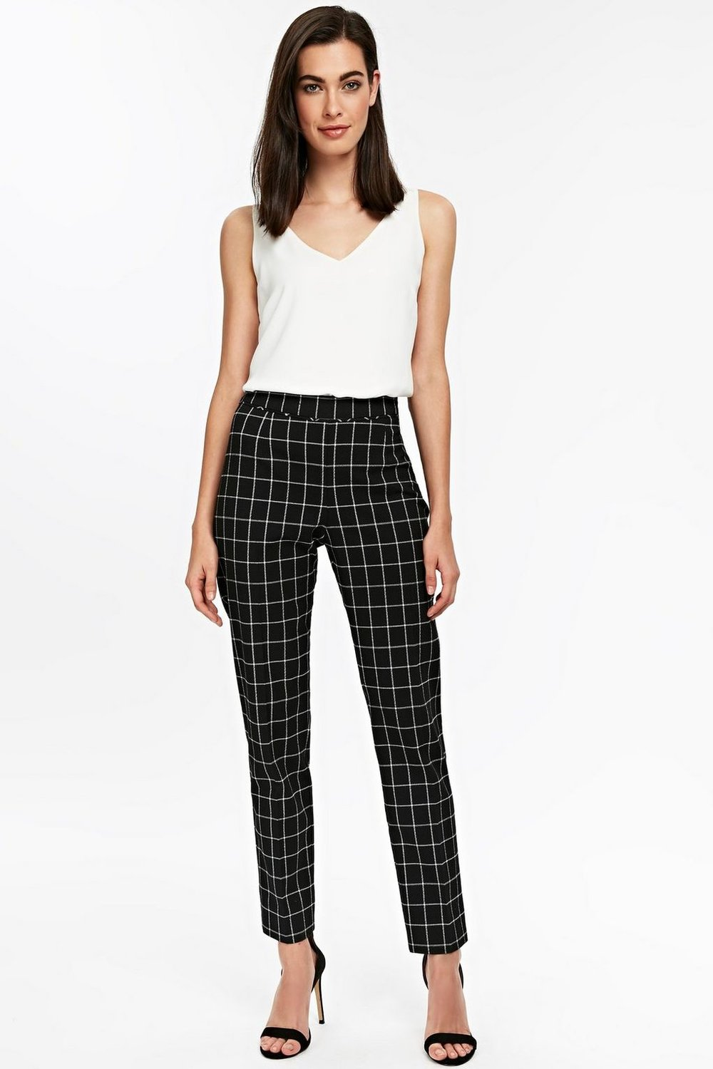Monochrome Checked Slim Leg Trouser, £35