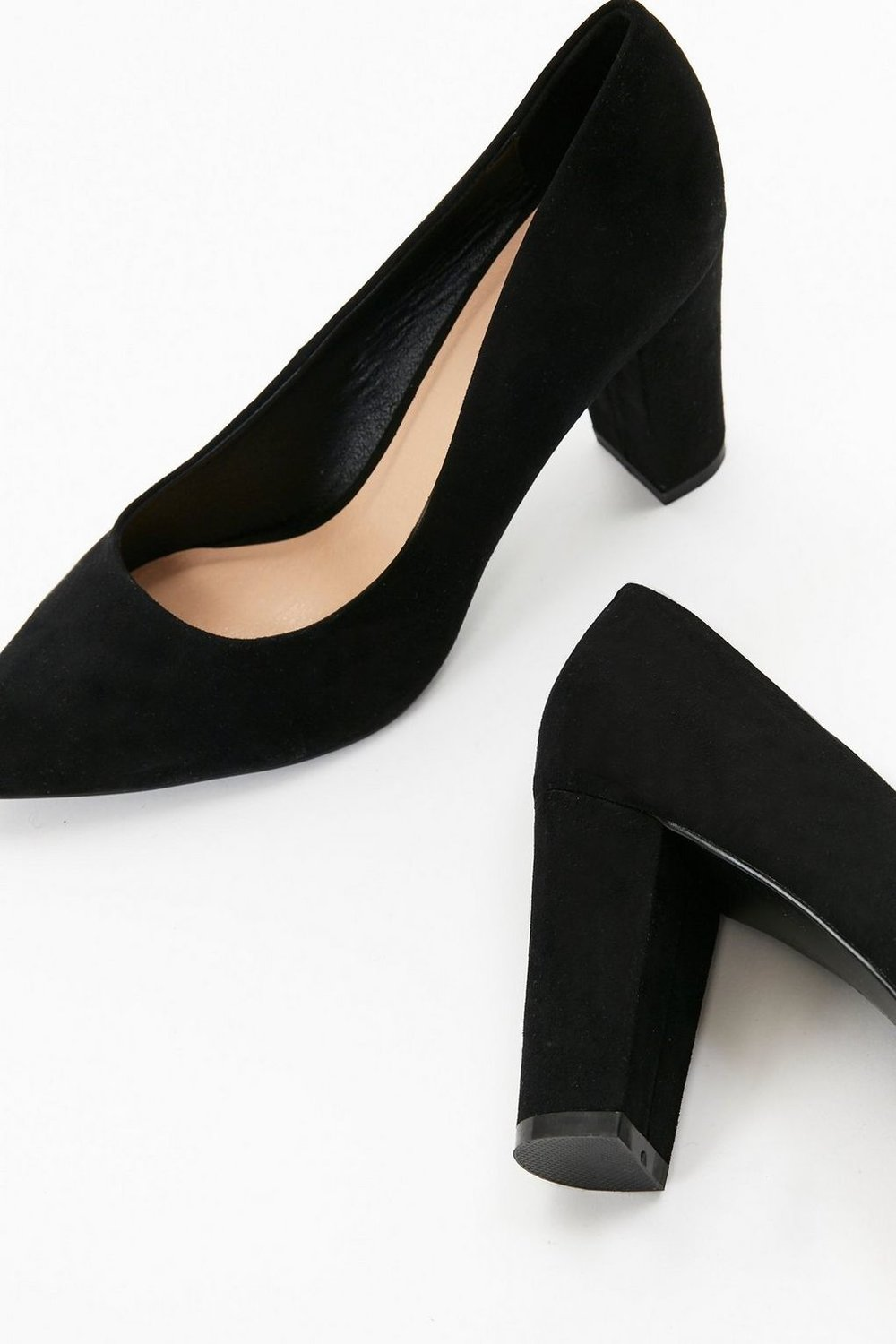Black Pointed Block Heel Court Shoe, £35