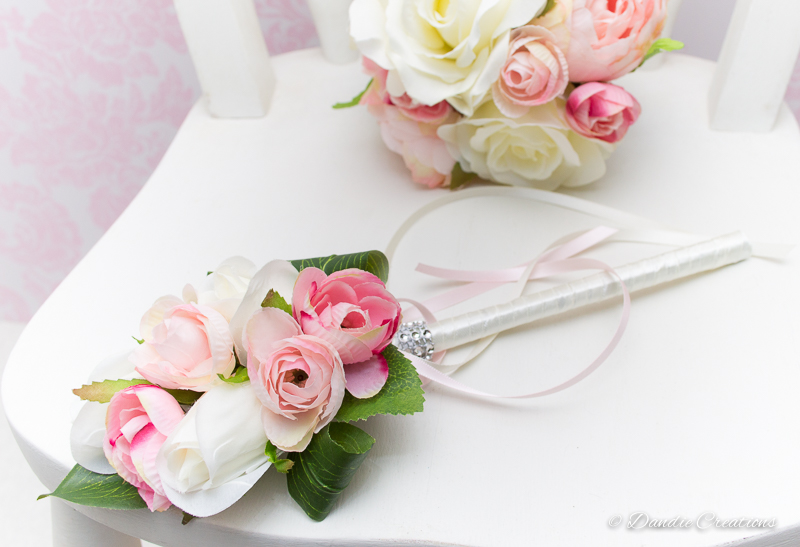 Silk Rose & Peony Flower Girl Wand in Light Pink & Ivory \