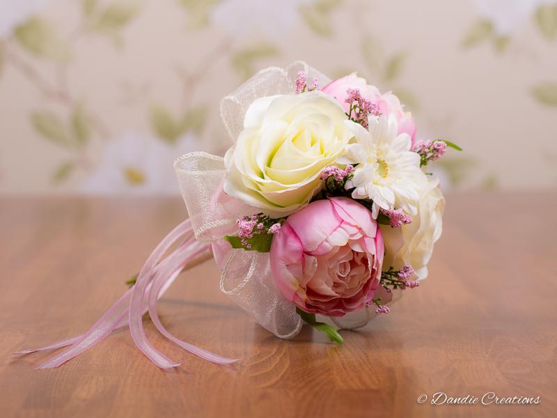 Silk Rose & Peony Flower Girl Bouquet \
