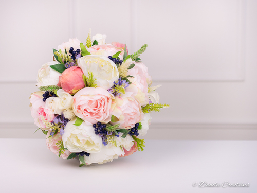Mixed Silk Peony Bridal Posy Bouquet Bethany Collection