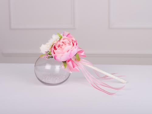 Silk peony rose flower girl wand in pink ivory gemma silk peony rose flower girl wand in pink ivory gemma collection mightylinksfo