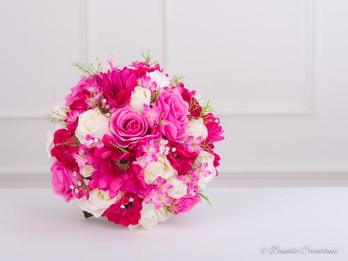 Silk Bridal Posy Bouquet In Mixed Silk Flowers Fuchsia Pink Ivory