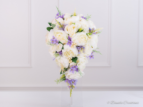 Silk Peonies Roses Bridal Teardrop Bouquet In Ivory Lilac Annabelle Collection