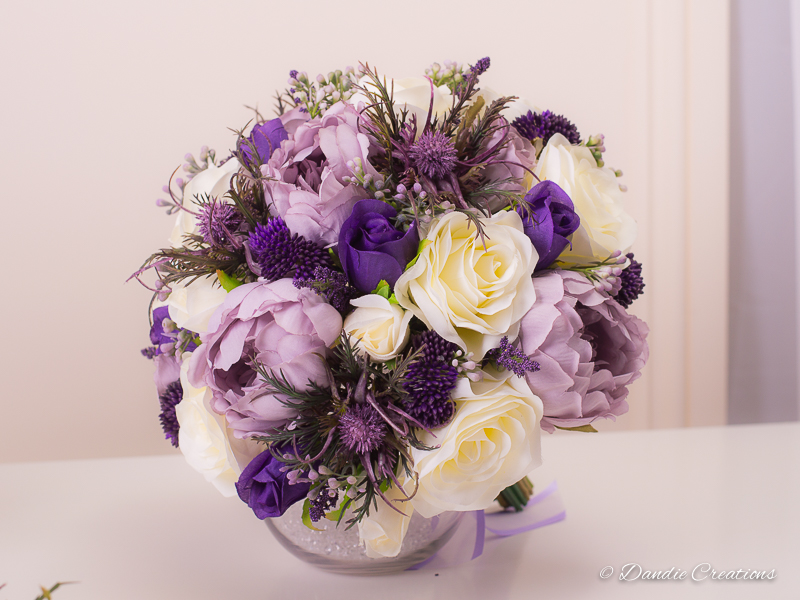 Silk Rose & Peony Bridal Bouquet In Lilac, Purple & Ivory \