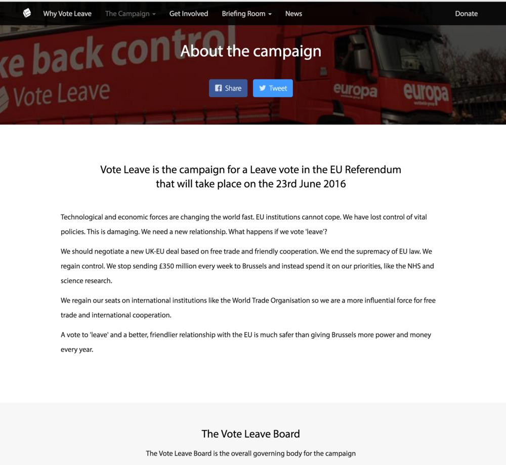Vote Leaves website is one step above a bad blogger site