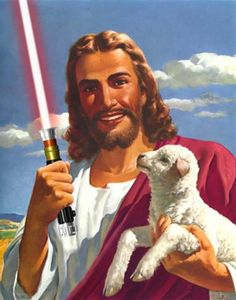 A lamb of god with a light sabre