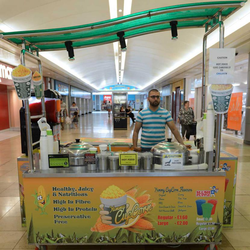 A sweetcorn stand in Lewisham Mall. Worth a trip down the DLR aprently