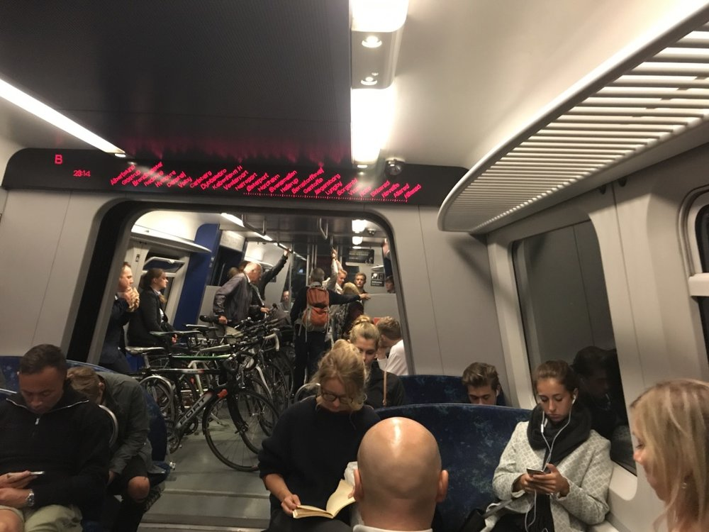 Even the trains are extra wide to accommodate the bikes