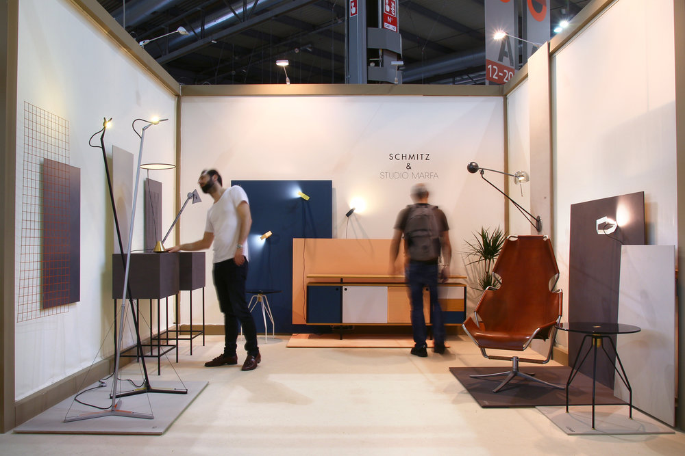 The SCHMITZ & STUDIO MARFA booth at Salone Satellite 2018