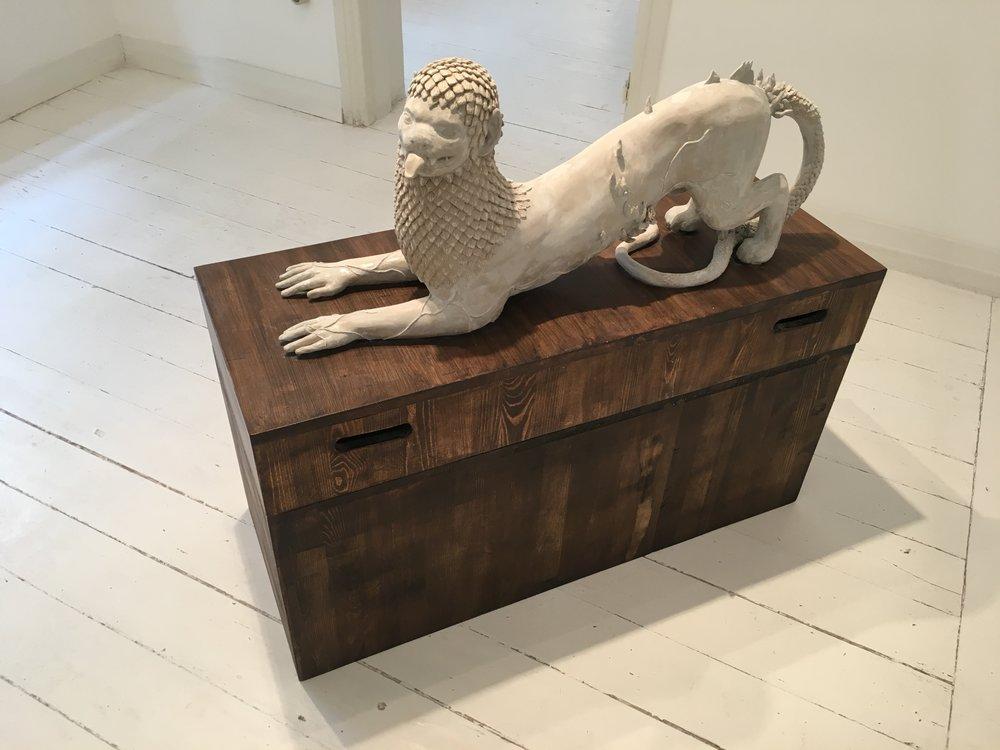 Clay, plaster, wooden plinth, 36x88x100x40cm