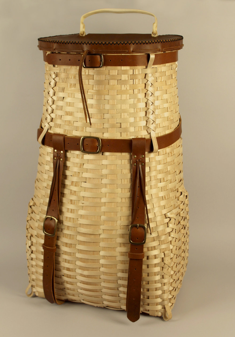 Nuhkomoss Packbasket, by Gabriel Frey, Passamaquoddy, is one of more than a dozen items available in the live auction.
