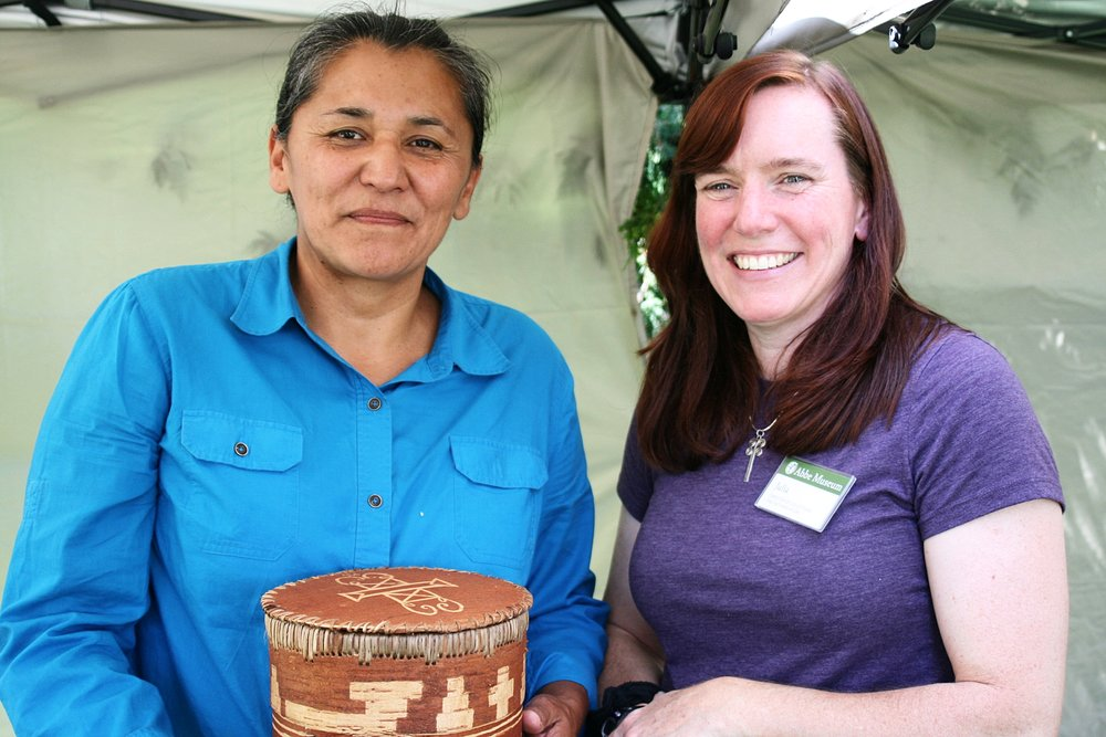 Gina Brooks and Abbe Museum Director of Collections & Interpretation Julia Gray at the 2015 Native American Festival & Basketmakers Market