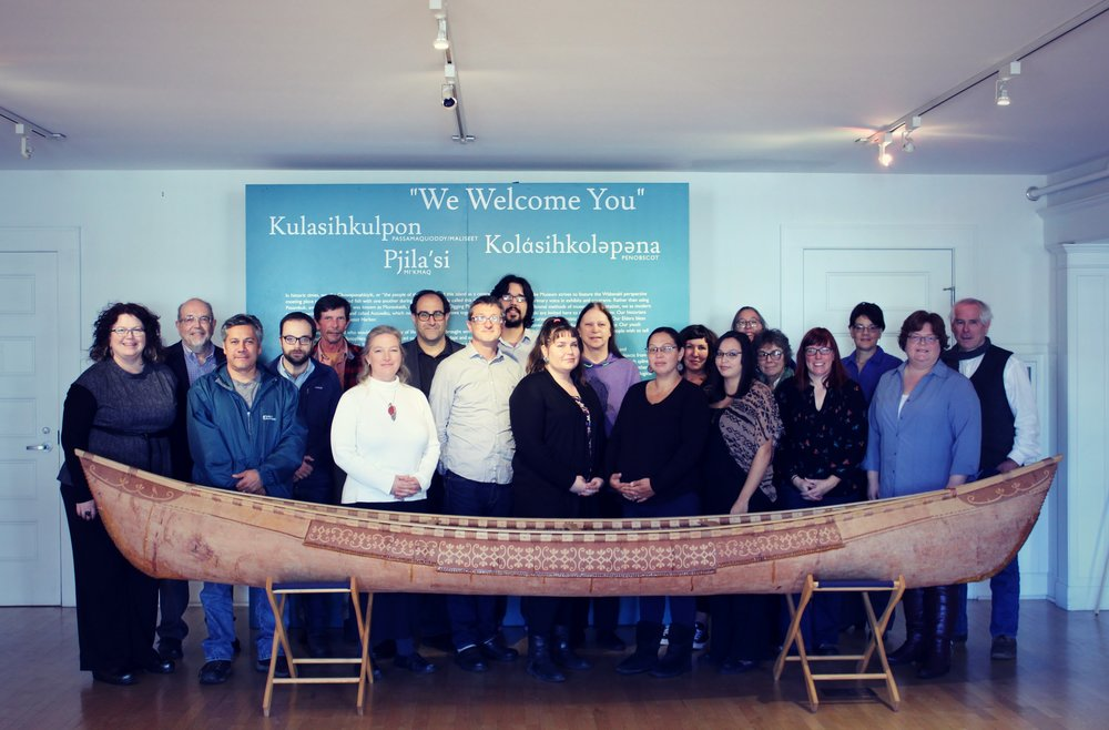 From left to right, back row: Larry Zimmerman, Gabe Hrynick, Dave Putnam, Darren Ranco, Isaac St. John, Paulette Steeves, Kristen Barnett, Lynne Dominy, Rebecca Cole-Will, Bonnie Newsom, Stephen Loring. From left to right, front row: Cinnamon Catlin-Legutko, Chris Sockalexis, Jennifer Talken-Spaulding, David Goldstein, Starr Kelly, Natalie Dana, Cassandra Dana, Julia Gray, Jennifer Pictou.
