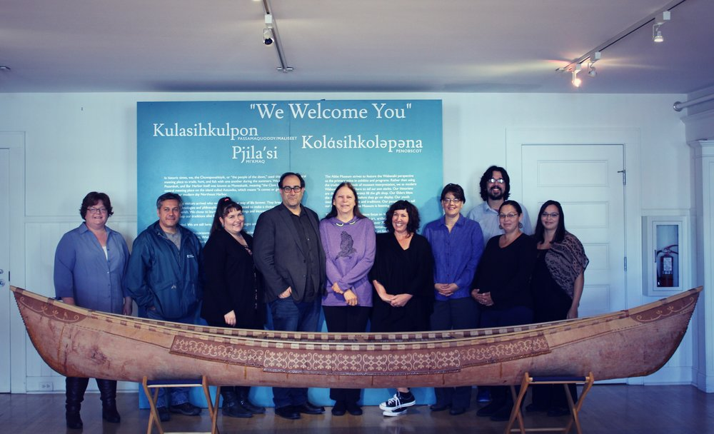 From left to right:Jennifer Pictou (Micmac), Chris Sockalexis (Penobscot), Starr Kelly (Algonquin), Darren Ranco (Penobscot), Paulette Steeves (First Nations Cree- Metis), Kristen Barnett (Unangan), Bonnie Newsom (Penobscot), Isaac St. John (Maliseet), Natalie Dana (Passamaquoddy), Cassandra Dana (Passamaquoddy)