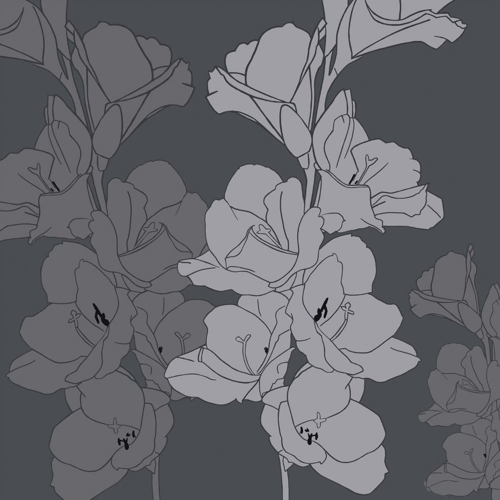 GLADIOLI IN GREY – Design Ref. 1865