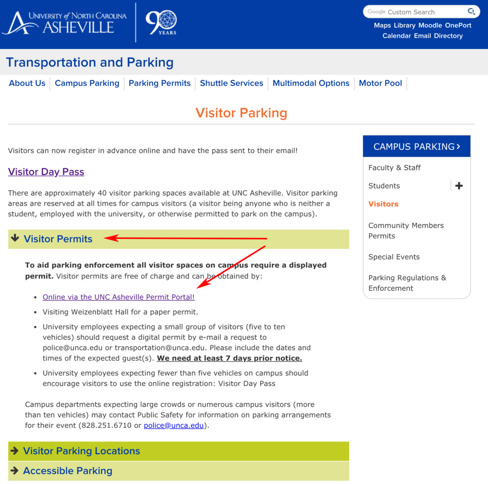 VISITOR - Select Visitor PermitsClick link for 'UNC Asheville Permit Portal'