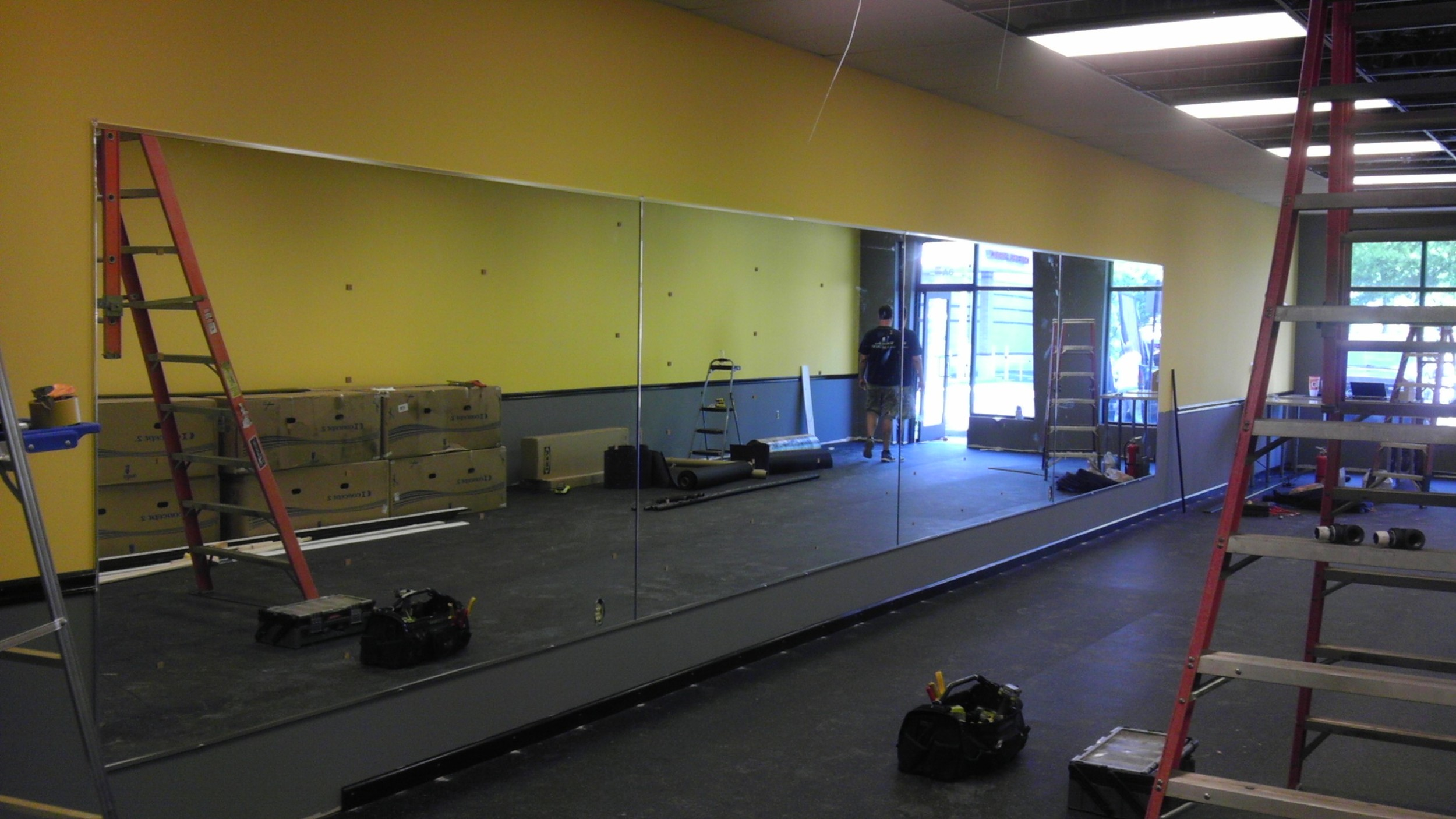 200 square feet of mirrors installed at Rowbot Fitness