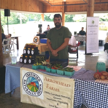 Ben, with his set up and ready to sell at our market. Thanks to our friends at Spring Hill Fresh for the photo!