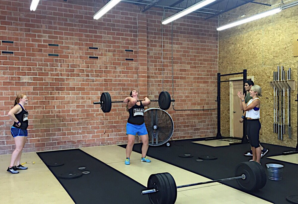 Got it! Andrea hitting a 125# hang power clean during CrossFit Team Series event 4.