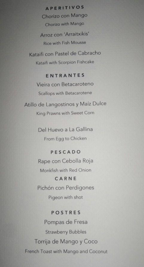 ametsa menu
