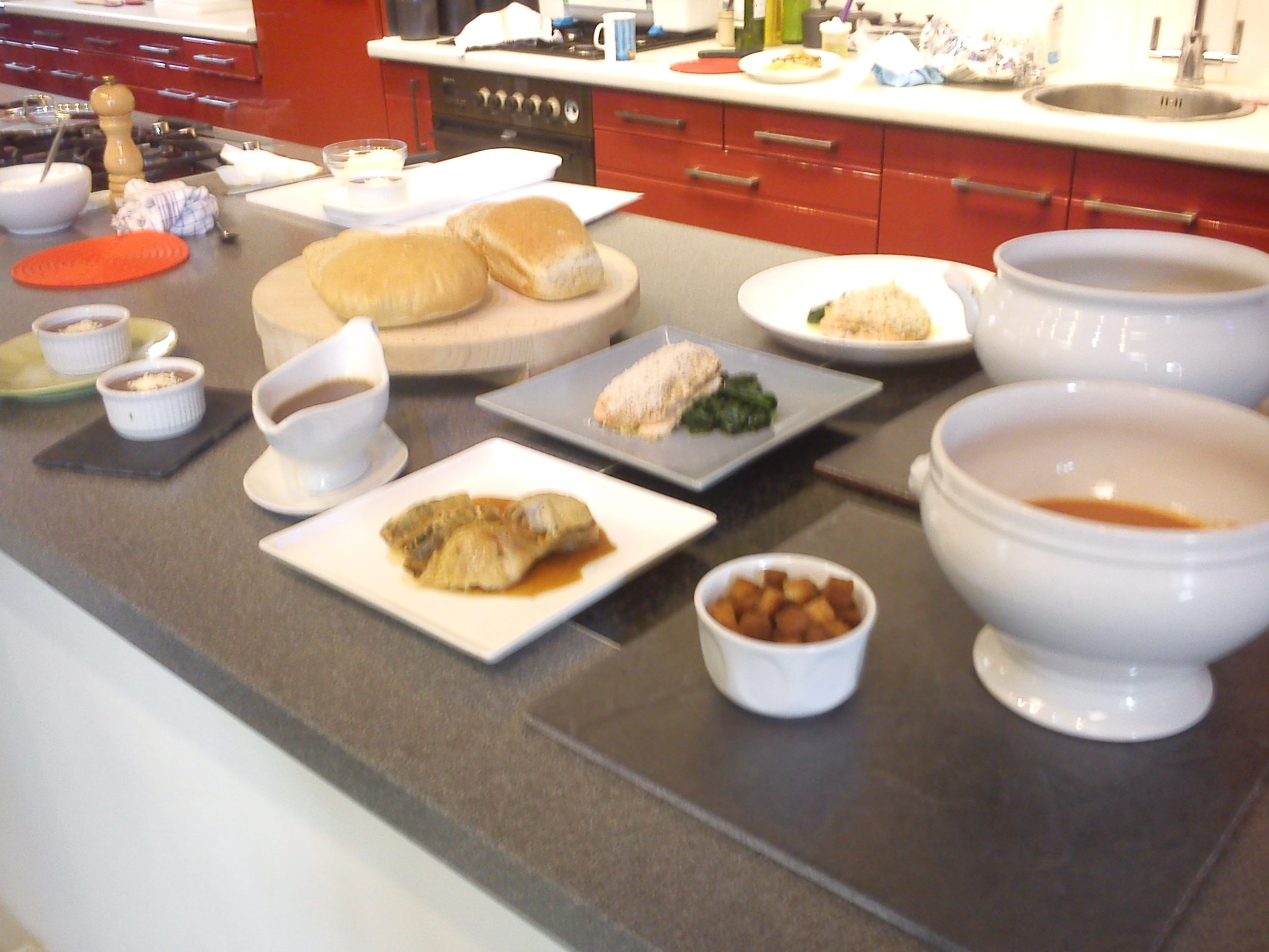 A selection of the food made by Kate in the morning demonstration