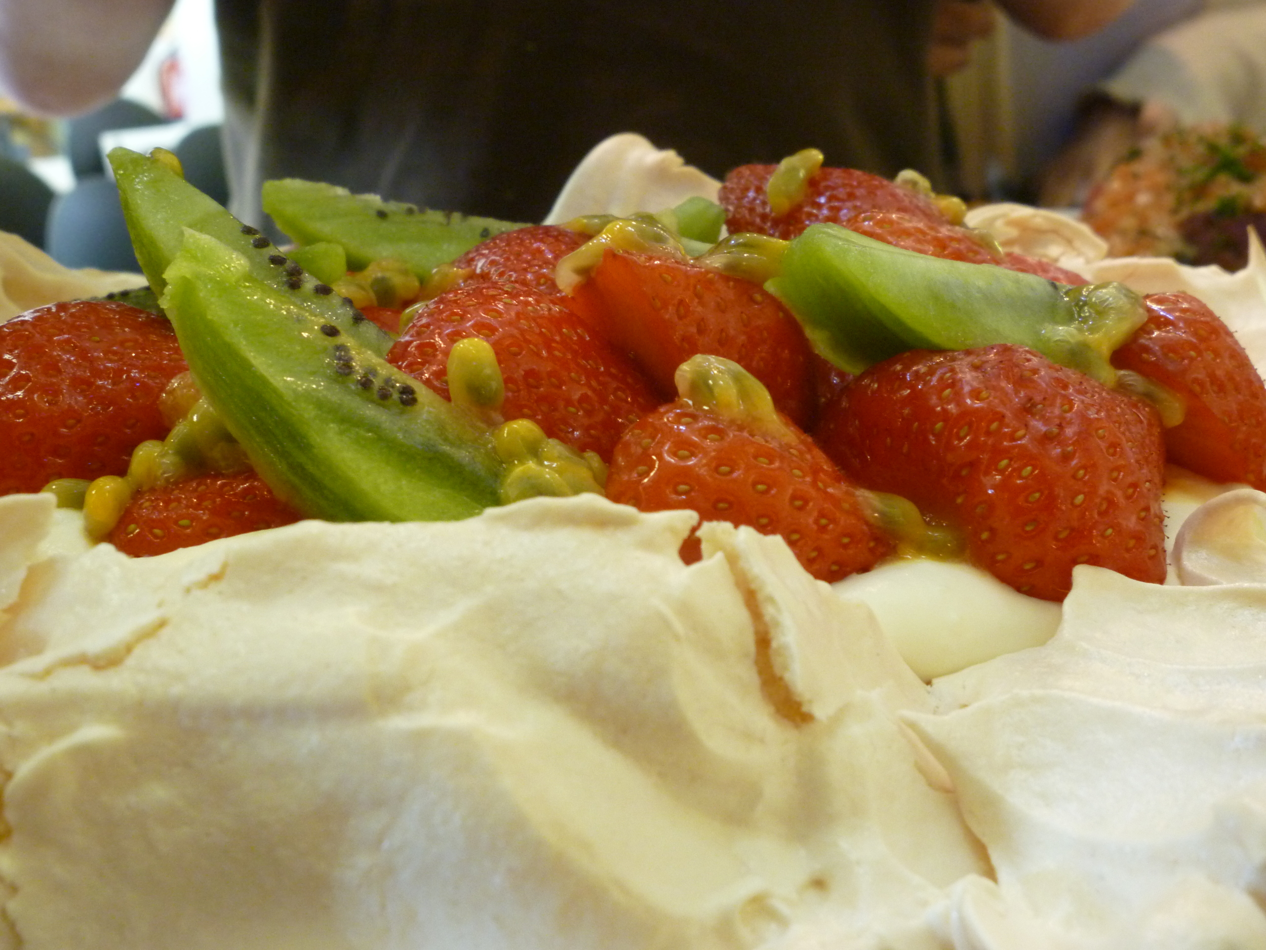 Kiwi, strawberry and passion fruit pavlova