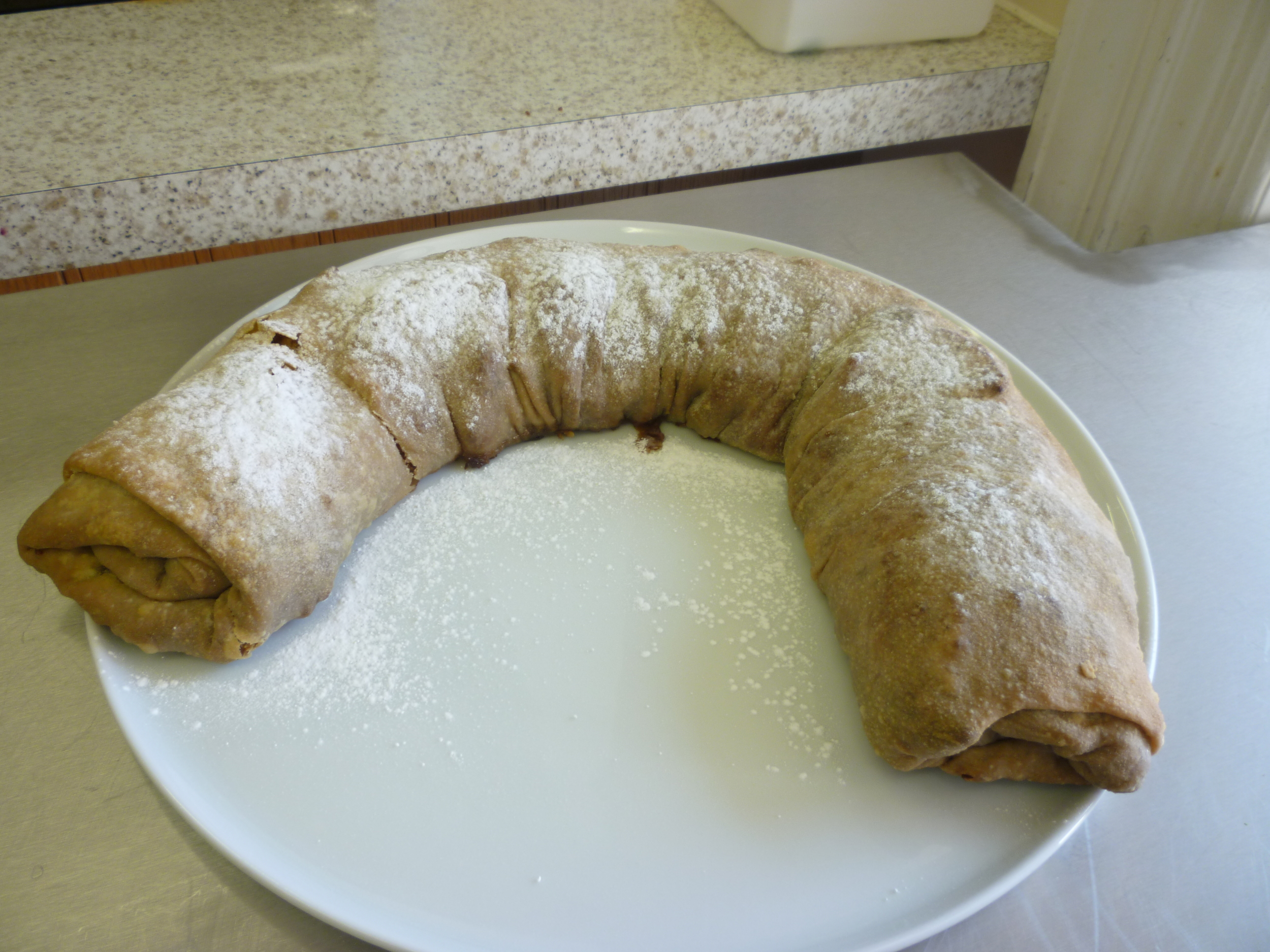 An apple strudel. It may not look like much, but I assure you it was one of the nicest desserts we've made so far.