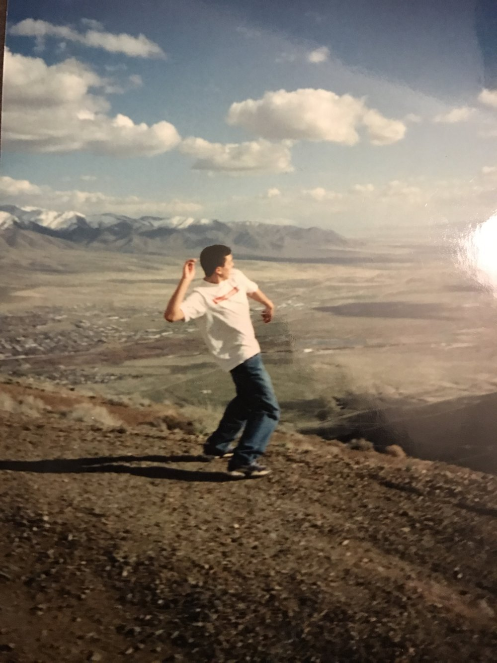 A bad photo of a photo. My best friend at the top of Winnemucca Mountain.