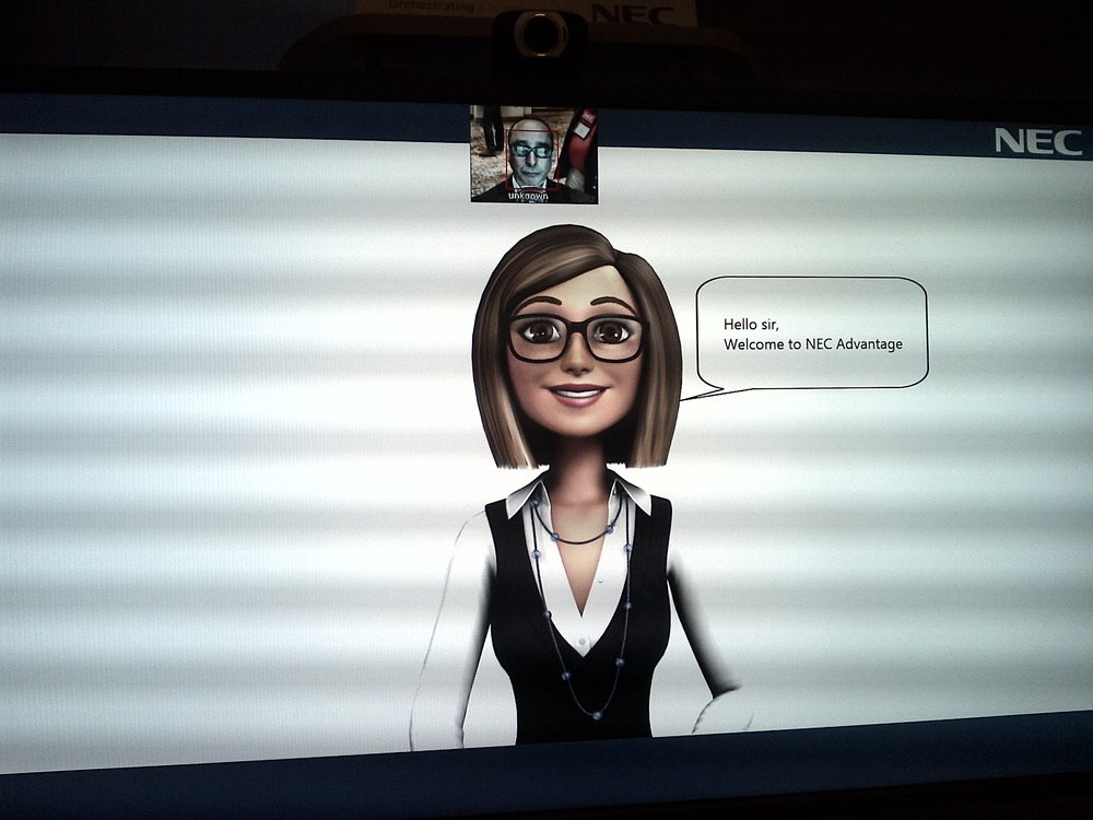 Nec's virtual attendant - a bit cartoonish, but she did catch my eye!